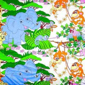 Одеяло желтое, джунгли