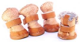 Мягкие ботиночки для собак кофе