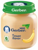 Пюре Gerber только банан с 6 месяцев, 130 г, 1 шт.